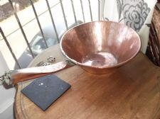 UNUSUAL ANGLED ANTIQUE ARTS CRAFTS ? COPPER PAN RIVETED COPPER HANDLE ROLL RIM